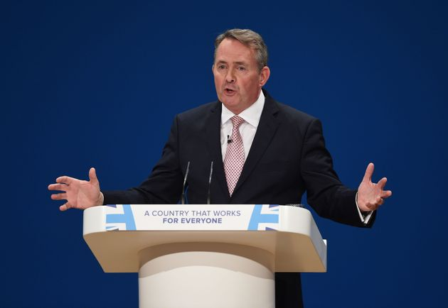 Secretary of State for International Trade Liam Fox speaks at the Conservative party conference at the...