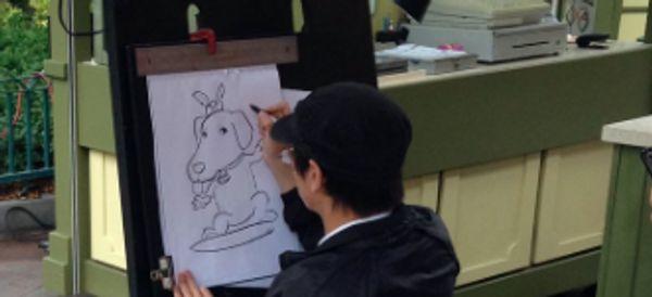 Service Dog Having His Caricature Drawn At Disneyland Is The Best Thing You'll See Today