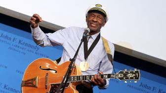 Boston, MA - FEBRUARY 26: Honoree Chuck Berry performs during the 2012 Awards for Lyrics of Literary Excellence at The John F. Kennedy Presidential Library And Museum on February 26, 2012 in Boston, Massachusetts. (Photo by Marc Andrew Deley/Getty Images)