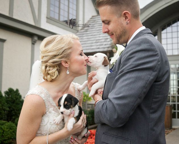 Kathryn Dombrowski and Brad Ziemer enjoyed lots of puppy love on their big