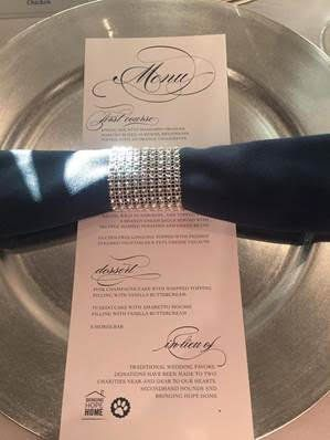 The couple made charitable donations in lieu of spending money on wedding favors.