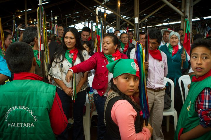 Indigenous community members convene in La María, Cauca, on Sept. 7 to receive the peace delegates after finalizing th