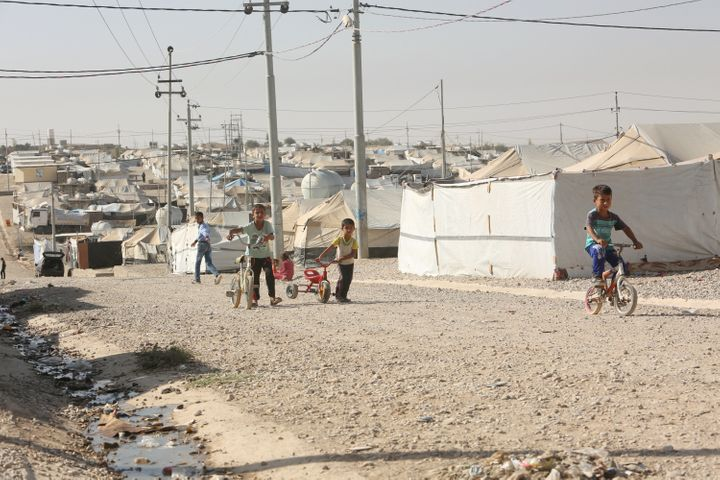 Displaced Iraqi children who fled Mosul are pictured at a refugee camp in Duhok, Iraq.