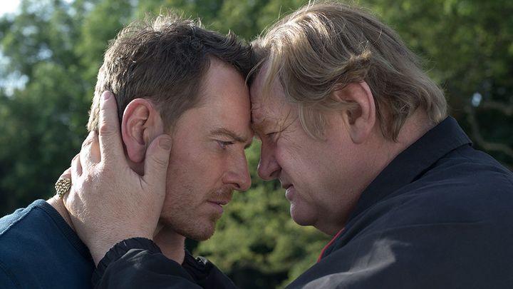"Michael Fassbender and Brendan Gleeson in ""Trespass Against Us."""
