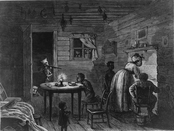 This chilling engravingof a black family being terrorized by a Klansman was madein 1872.
