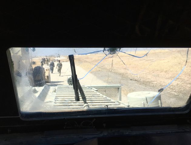 "The view from inside of a Peshmerga armored, mine-resistant ""Badger"""