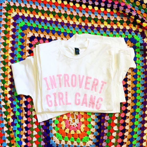 """Introvert Girl Gang Shirt, $28, <a href=""""https://www.etsy.com/listing/278038058/introvert-girl-gang-shirt?ga_order=most_relev"""