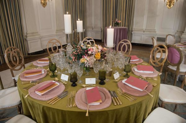 View of a table at the White House during a preview of the state dinner.(Nicholas Kamm/AFP/Getty Images)