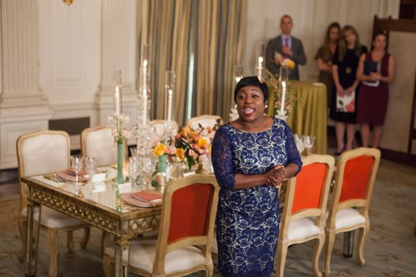 White House Social Secretary Deesha Dyer, speaks to press during a press preview in the State Dining Room of the White House.