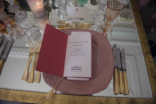 View of the president's place setting.(Nicholas Kamm/AFP/Getty Images)