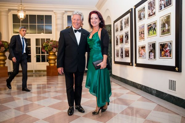 Former racing driver Mario Andretti and Barbra Andretti-Curto.(Photo by Zach Gibson/AFP/Getty Images)