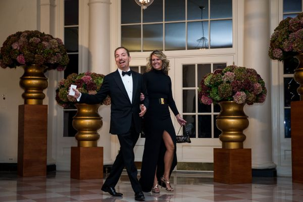 Host of NBC's 'Meet the Press' Chuck Todd and Kristian Todd.(Photo by Zach Gibson/AFP/Getty Images)