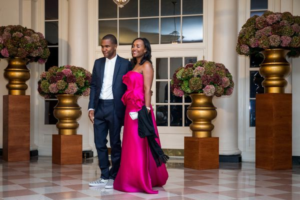 Frank Ocean and Katonya Breaux.(Photo by Zach Gibson/AFP/Getty Images)