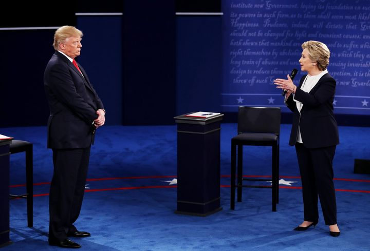 Presidential candidates Hillary Clinton (D) and Donald Trump (R) tangle at the second debate on October 9th, 2016 at Washingt