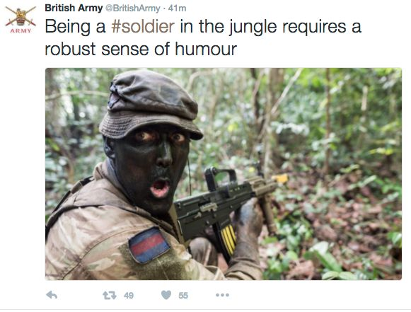 British Army Faces Racism Claims Over 'Blackface' Tweet 58074ecf1a000067145ba64c