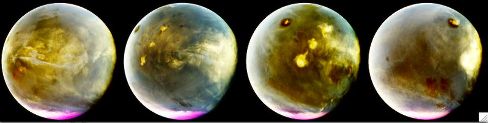 MAVEN's Imaging UltraViolet Spectrograph obtained these images of rapid cloud formation on Mars on July...