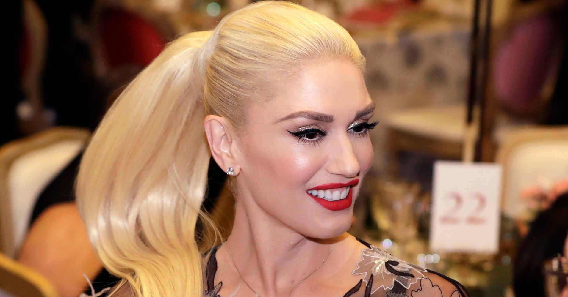 Gwen Stefani Hit The White House In A Plunging Sheer Gown