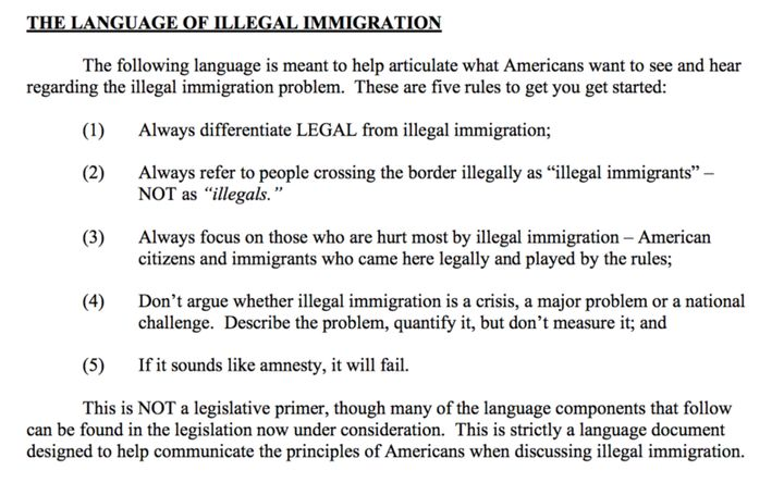 Screenshot from Frank Luntz's leaked 2005 memo to the GOP, advising the party on illegal immigration