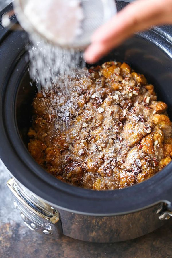 "<strong>Get the <a href=""http://damndelicious.net/2016/09/19/slow-cooker-pumpkin-french-toast/"" target=""_blank"">Slow Cooker P"