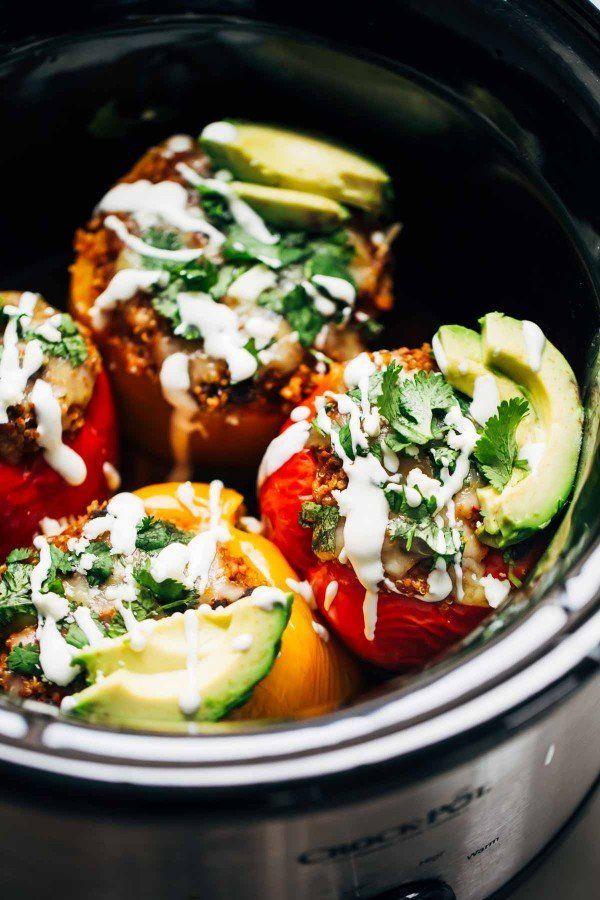 """<strong>Get the <a href=""""http://pinchofyum.com/quinoa-black-bean-crockpot-stuffed-peppers"""" target=""""_blank"""">Slow Cooker Quinoa"""