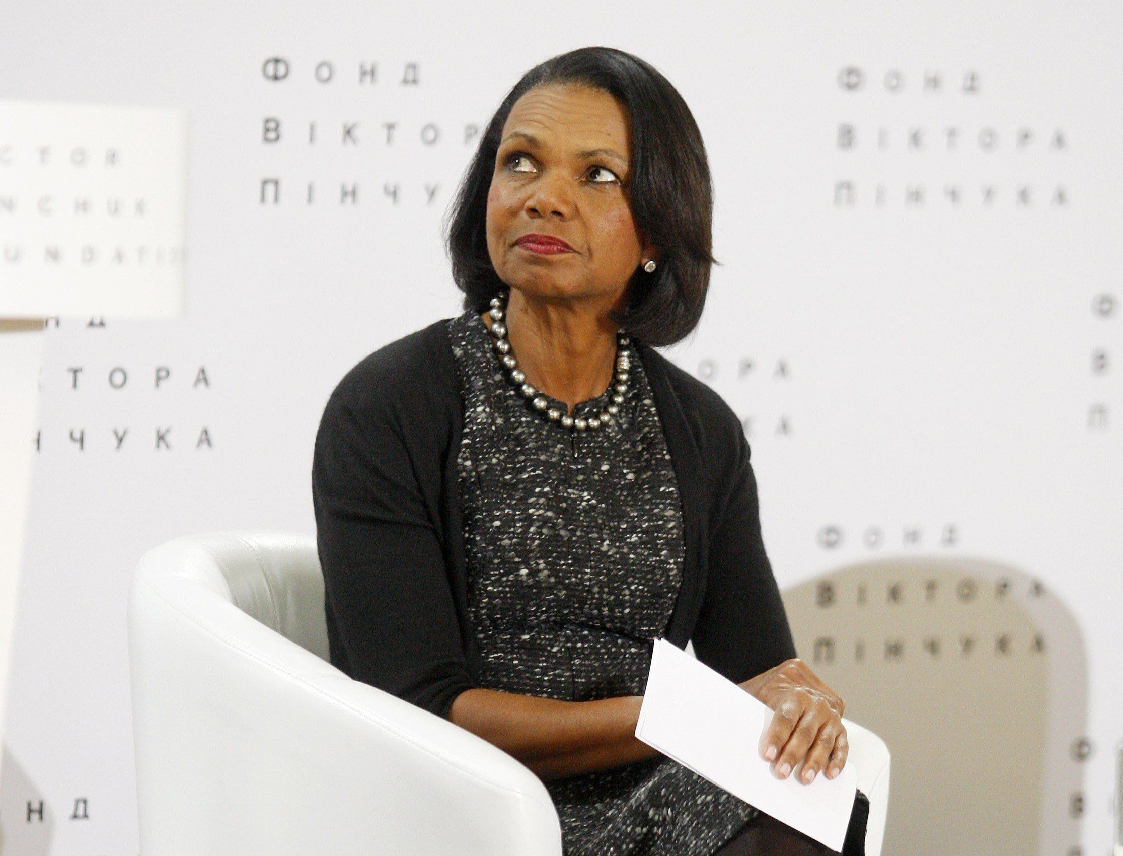 KIEV, UKRAINE - MARCH 09: Former United States secretary of state Condoleezza Rice attends her public lecture called 'The challenges of a changing world ' in Kiev,Ukraine on March 09, 2016. (Photo by Vladimir Shtanko/Anadolu Agency/Getty Images)