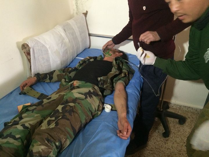 A Kurdish Peshmerga fighter recovers on Feb. 11, 2016 after being injured in a reported chemical weapons attack.