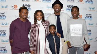 TORONTO, ON - FEBRUARY 13: Dahveon Morris, Gabrielle Union, Zion Wade, Dwyane Wade, and Zaire Wade attend the DWade All Star Bowling Classic Benefitting The Sandals Foundation And Wade's World Foundation at The Ballroom on February 13, 2016 in Toronto, Canada.  (Photo by George Pimentel/Getty Images for Sandals Foundation/Unique Vacations)