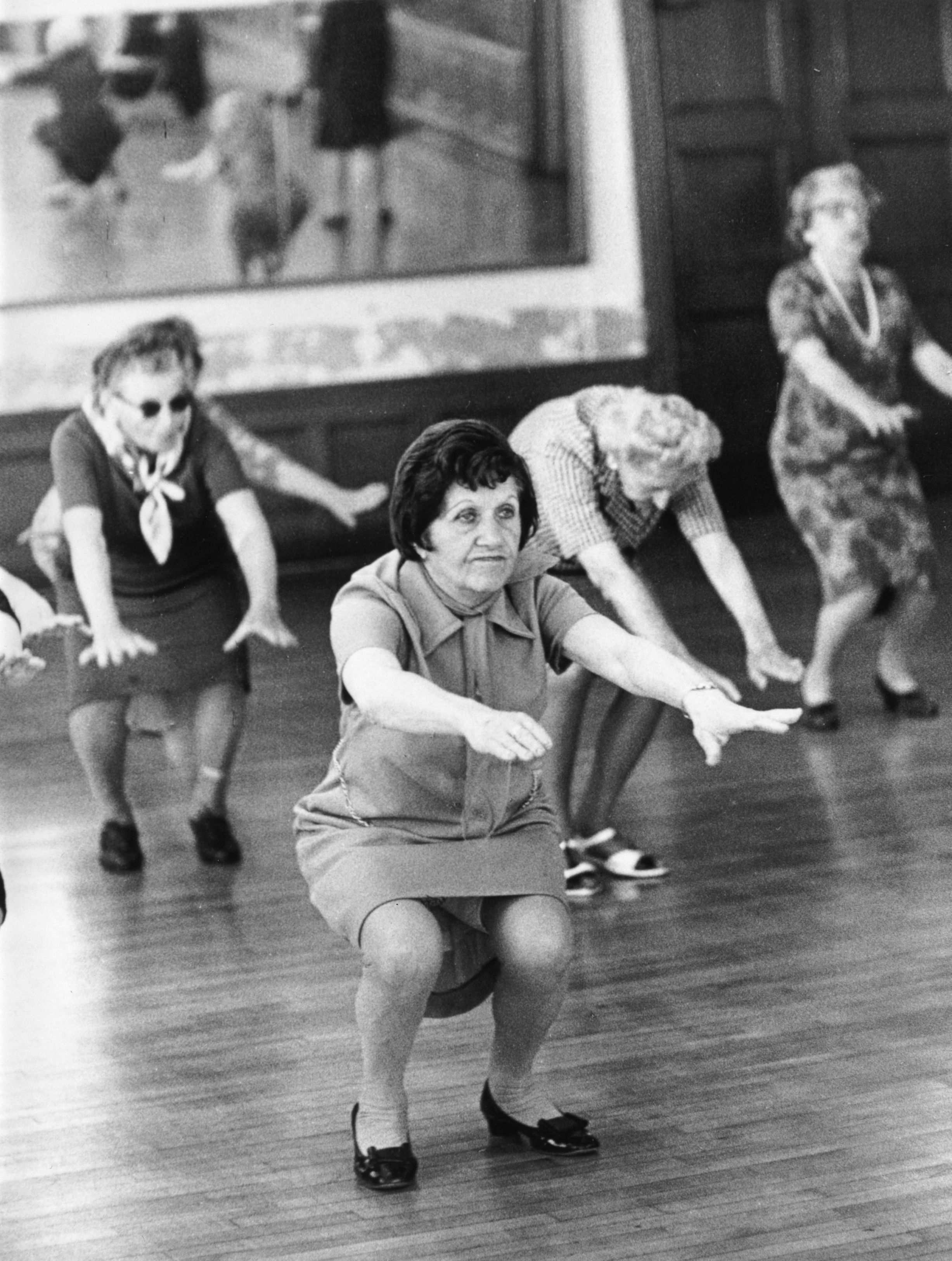 A group of elderly women exercising in a 'keep fit' class, New York.