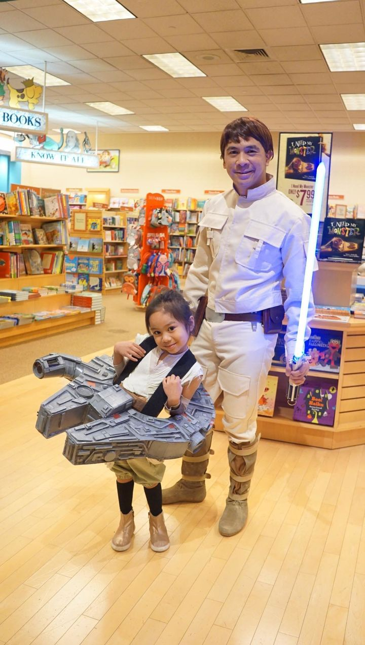 Five-year-old Harley helped her dad build a wearable Millennium Falcon.