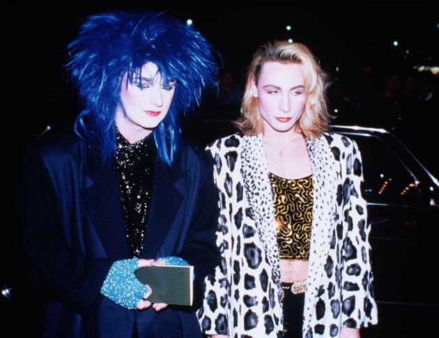 Marilyn out clubbing in 1982 with Boy George, who is