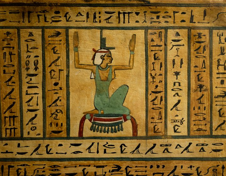 The Goddess Isis, painted on the side of a the sarcophagus in Luxor, Egypt, at the Ancient Egypt Museum.