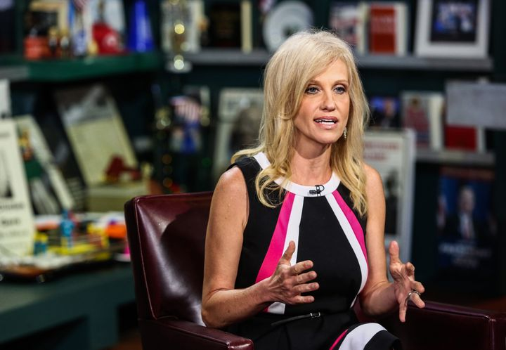 Kellyanne Conway, president and chief executive officer of Polling Co. Inc./Woman Trend, speaks during an interview on 'With