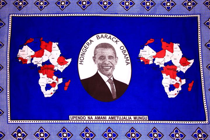 "2008 Kanga wrap sold in Kenya: Swahili Translation ""Congratulations Barack Obama Love and Peace has been granted to us by god"