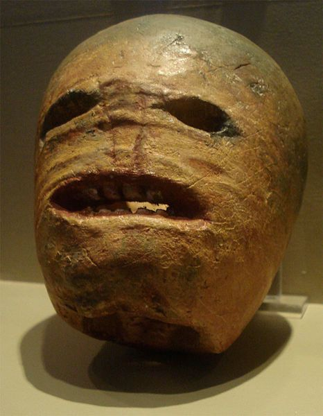 A traditional Irish jack-o'-lantern carved into a turnip from the early 20th century, on display at the Museum of Country Lif
