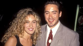 CENTURY CITY, CA - OCTOBER 3:   Actress Sarah Jessica Parker and actor Robert Downey, Jr. attend the 'Avalon' Century City Premiere on October 3, 1990 at Cineplex Odeon Century Plaza Cinemas in Century City, California. (Photo by Ron Galella, Ltd./WireImage)