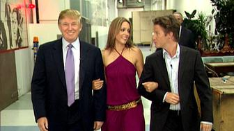 VIDEO FRAME GRAB: In this 2005 frame from video, Donald Trump prepares for an appearance on 'Days of Our Lives' with actress Arianne Zucker (center). He is accompanied to the set by Access Hollywood host Billy Bush. (Obtained by The Washington Post via Getty Images)