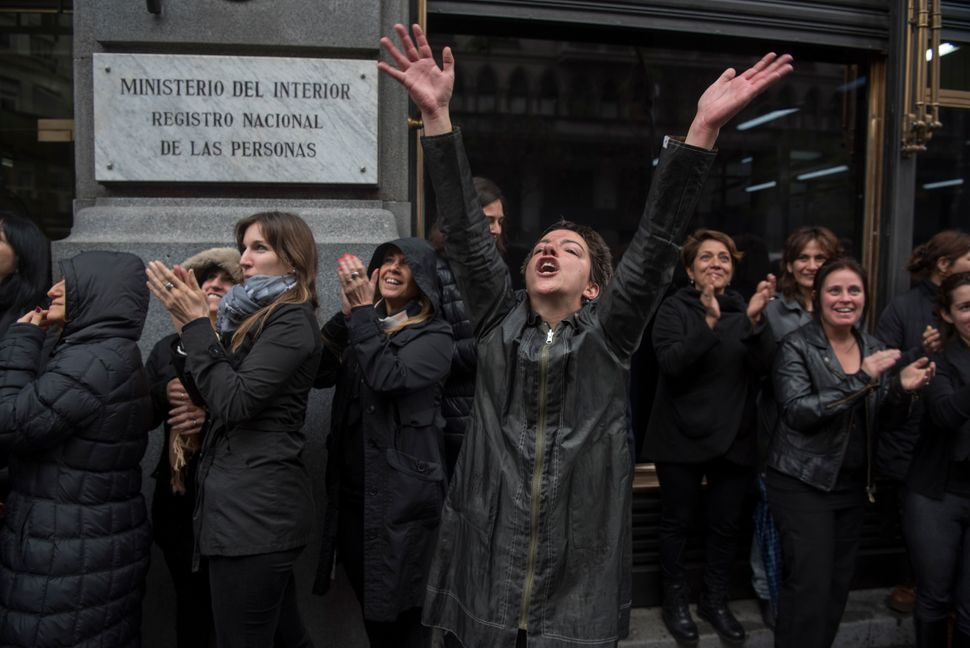 Women dressed in black go on strike in Buenos Aires to protest violence against women.