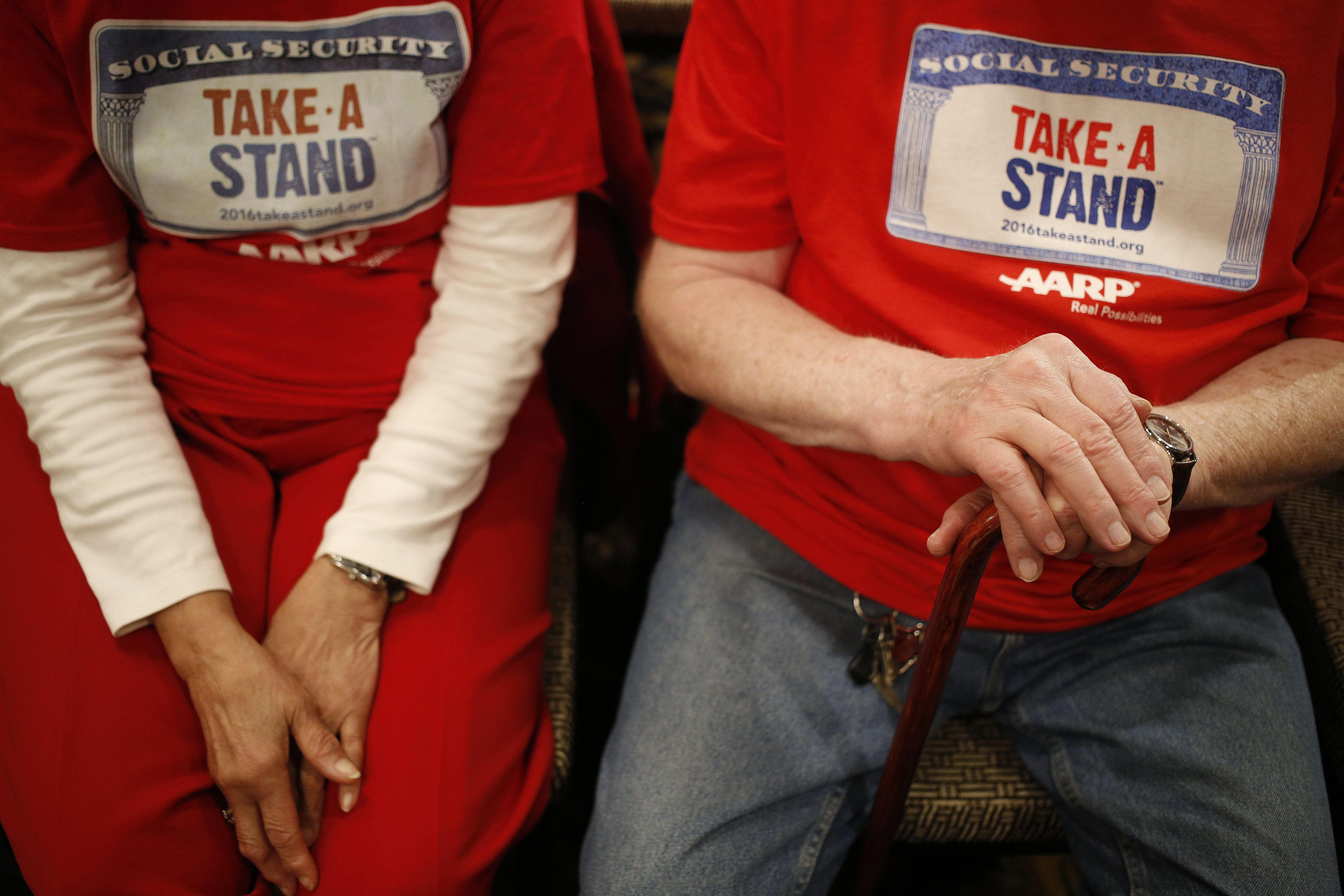 AARP activistsawait the start of an event for Ohio Gov. John Kasich (R) in Madison, Wisconsin, onMarch 28. The in
