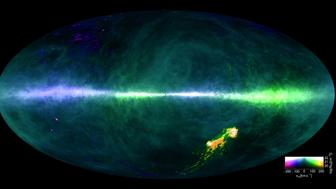 This is a map of the Milky Way built from data gathered by two radio telescopes Colors reflect hydrogen gas at differing velocities The plane of the Milky Way runs horizontally across the middle of the image The Magellanic Clouds can be seen at the lower right