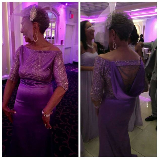 A view of the gown from the front and