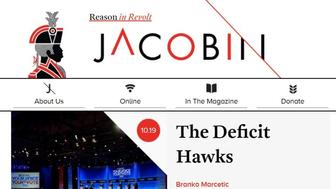 The online homepage of Jacobin