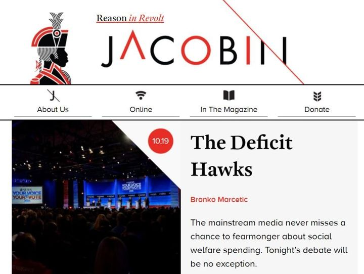 The online homepage of Jacobin.