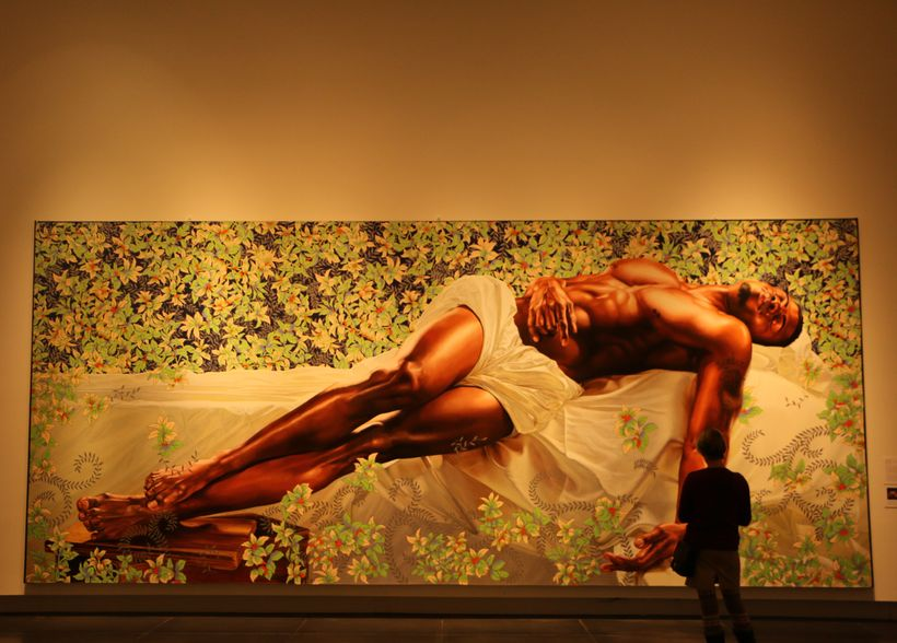 Kehinde Wiley's Sleep measures 11' x 25' as part of the 30 Americans exhibit at Tacoma Art Museum in Tacoma, Washington
