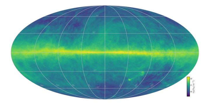 This map of the Milky Way is built from data gathered by two radio telescopes. The varied colorsreflect total hydrogen