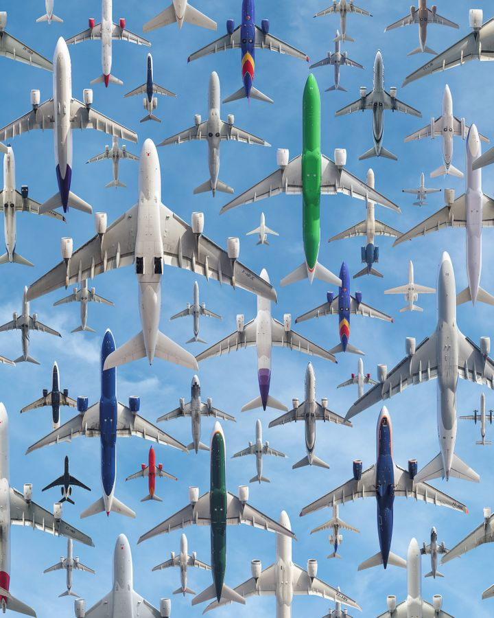 Planes soar over Los Angeles International Airport.