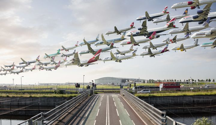 Airplanes arrive at London's Heathrow Airport.