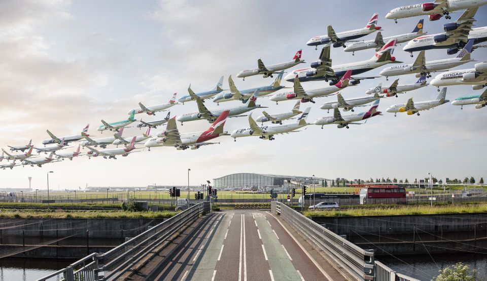 Airplanes arrive at London's Heathrow