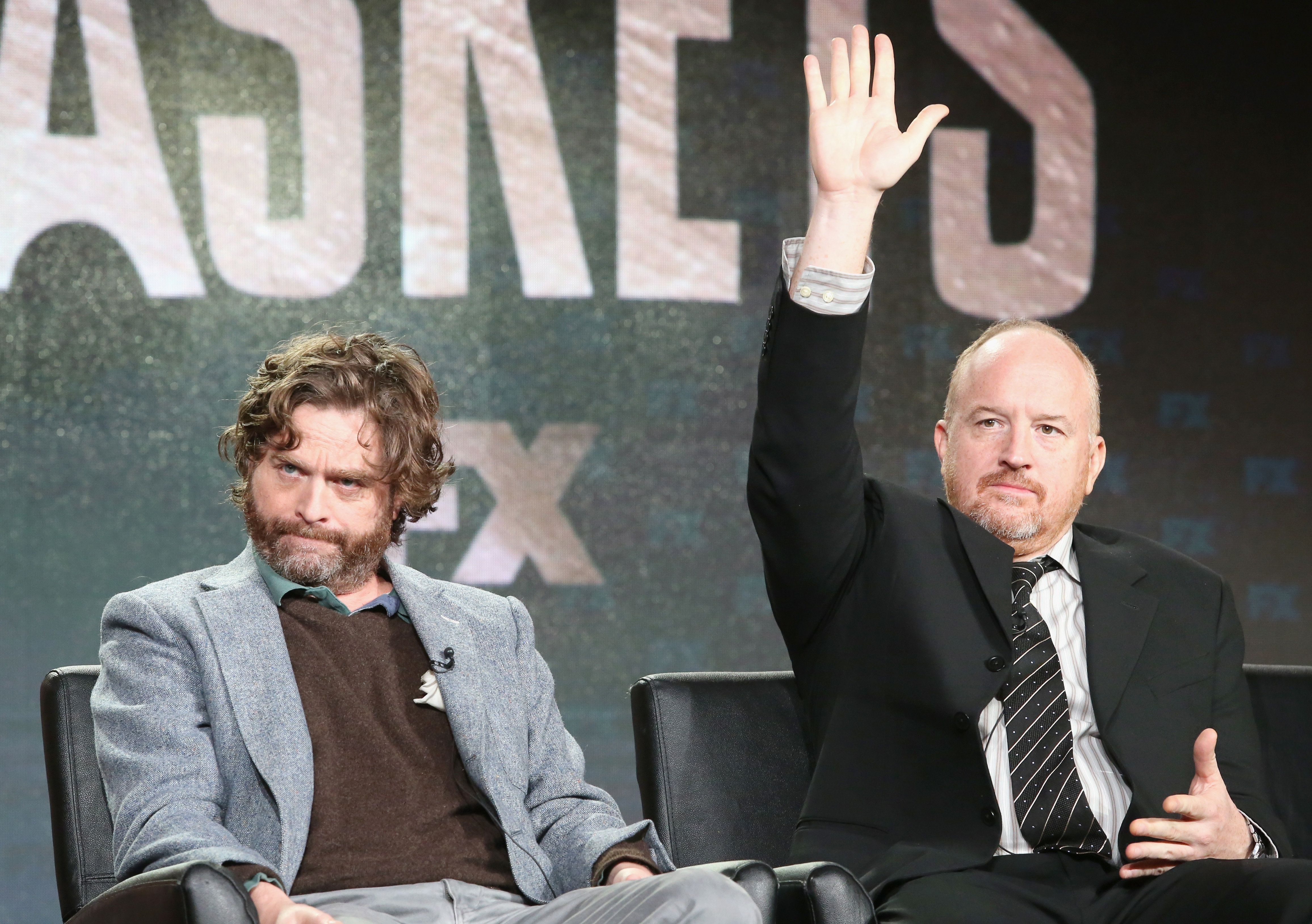 PASADENA, CA - JANUARY 16:  (L-R) Co-Creator/Executive Producer/Actor Zach Galifianakis and Co-Creator/Executive Producer Louis C.K. speak onstage during 'Baskets' panel discussion at the FX portion of the 2015 Winter TCA Tour at the Langham Huntington Hotel on January 16, 2016 in Pasadena, California.  (Photo by Frederick M. Brown/Getty Images)