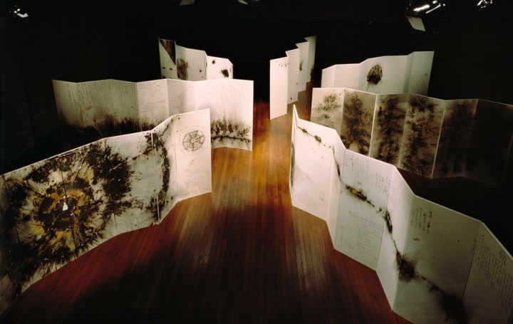 Seven of Cai's gunpowder drawings on paper mounted on board as folding screens, titled&nbsp;<i>Primeval Fireball: The Project