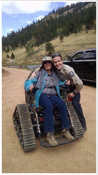 A park guest using Staunton'snew all-terrain chair.
